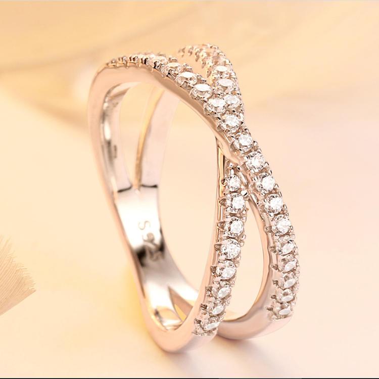 X Shape Cz Pave 925 Letter Ring, Custom Letter Rings For Women Silver