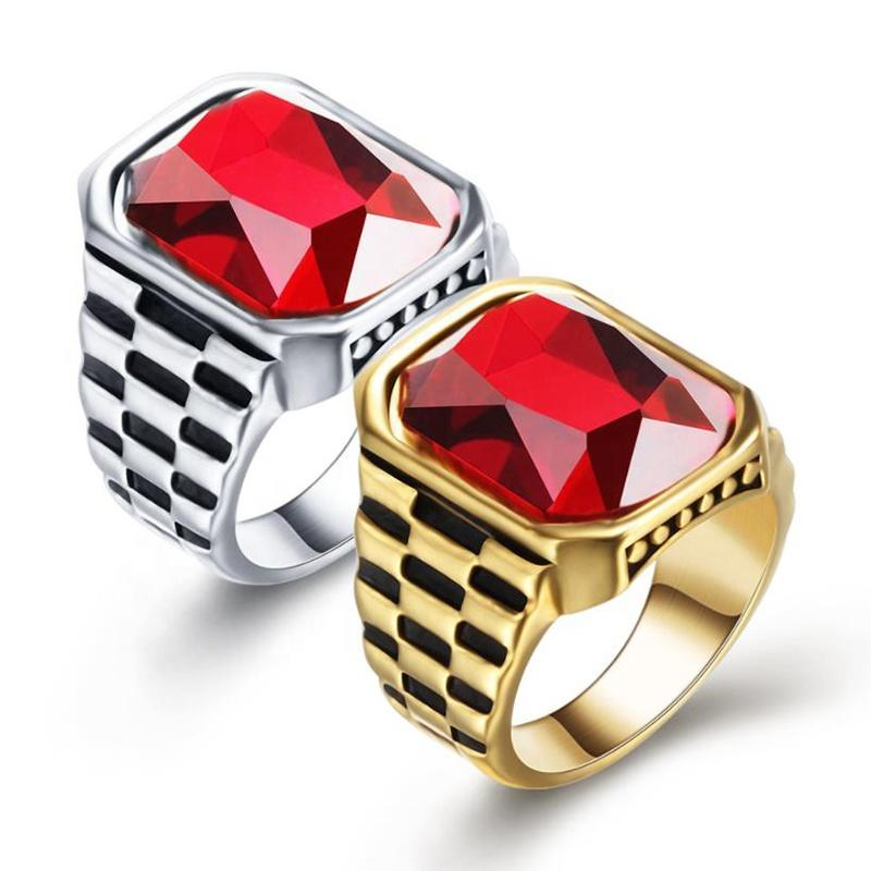 Personalized Retro Inlaid Red Gem Trend Jewelry Stainless Steel Ring