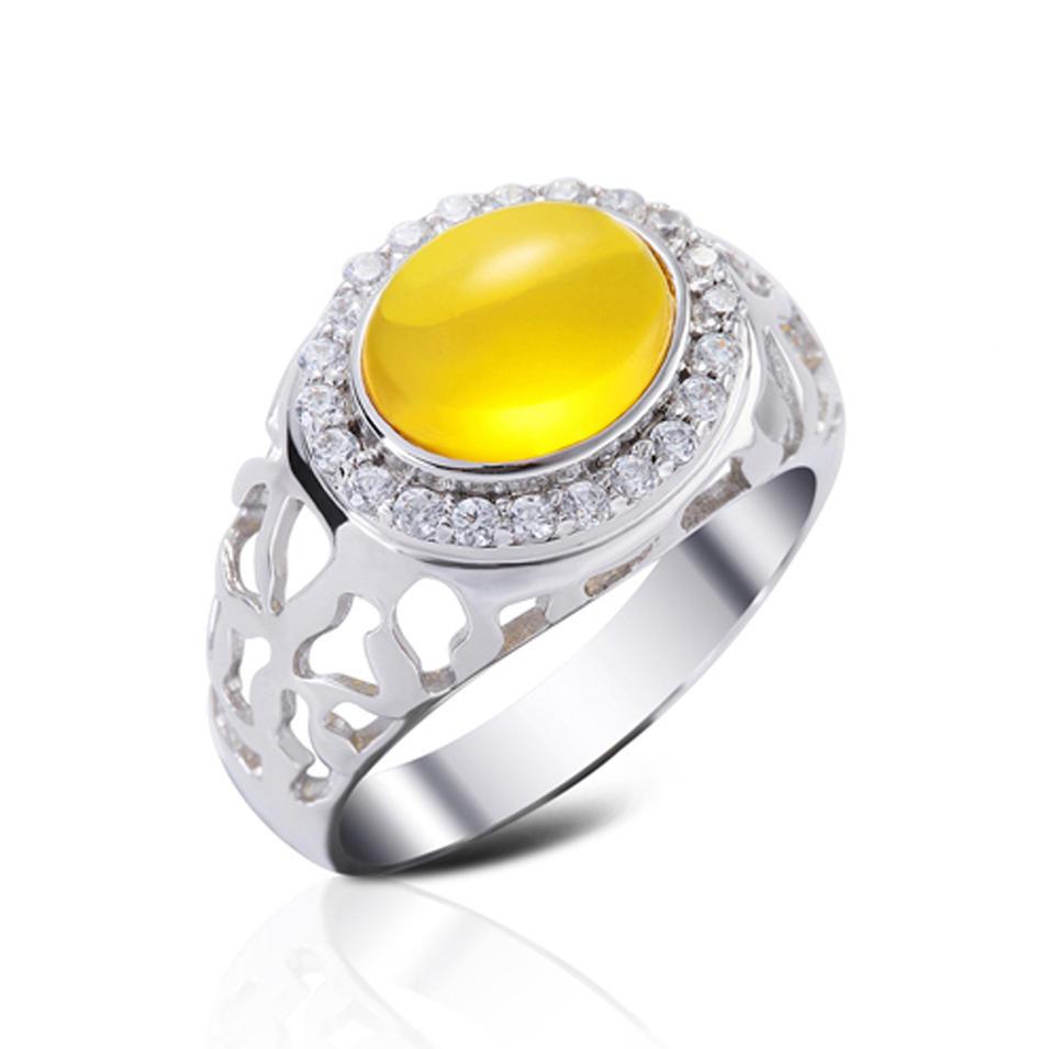 Women Silver Yellow Gemstone Cabochon Rings