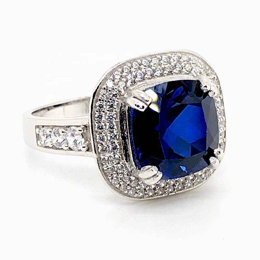 925 Silver Ring For Men With Blue Zircon Stone, Couple Ring Set Zircon Blue