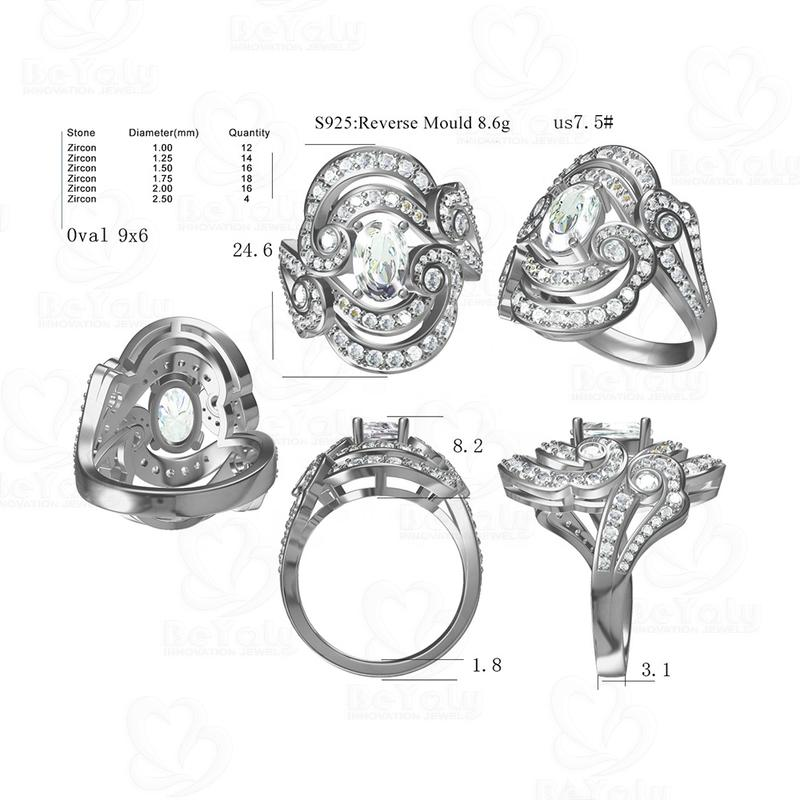 Oem Wholesale Fashion Auspicious Clouds Design 925 Silver Ring For Wedding