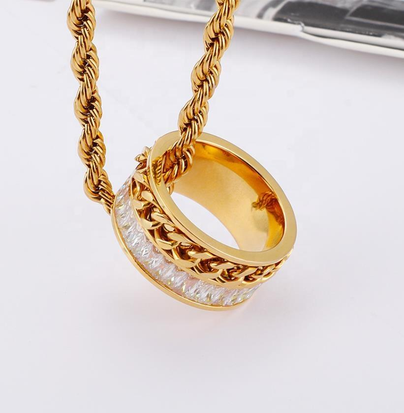 Fashion New Chain Creative Set Zircon Ring Stainless Steel Gold Plated