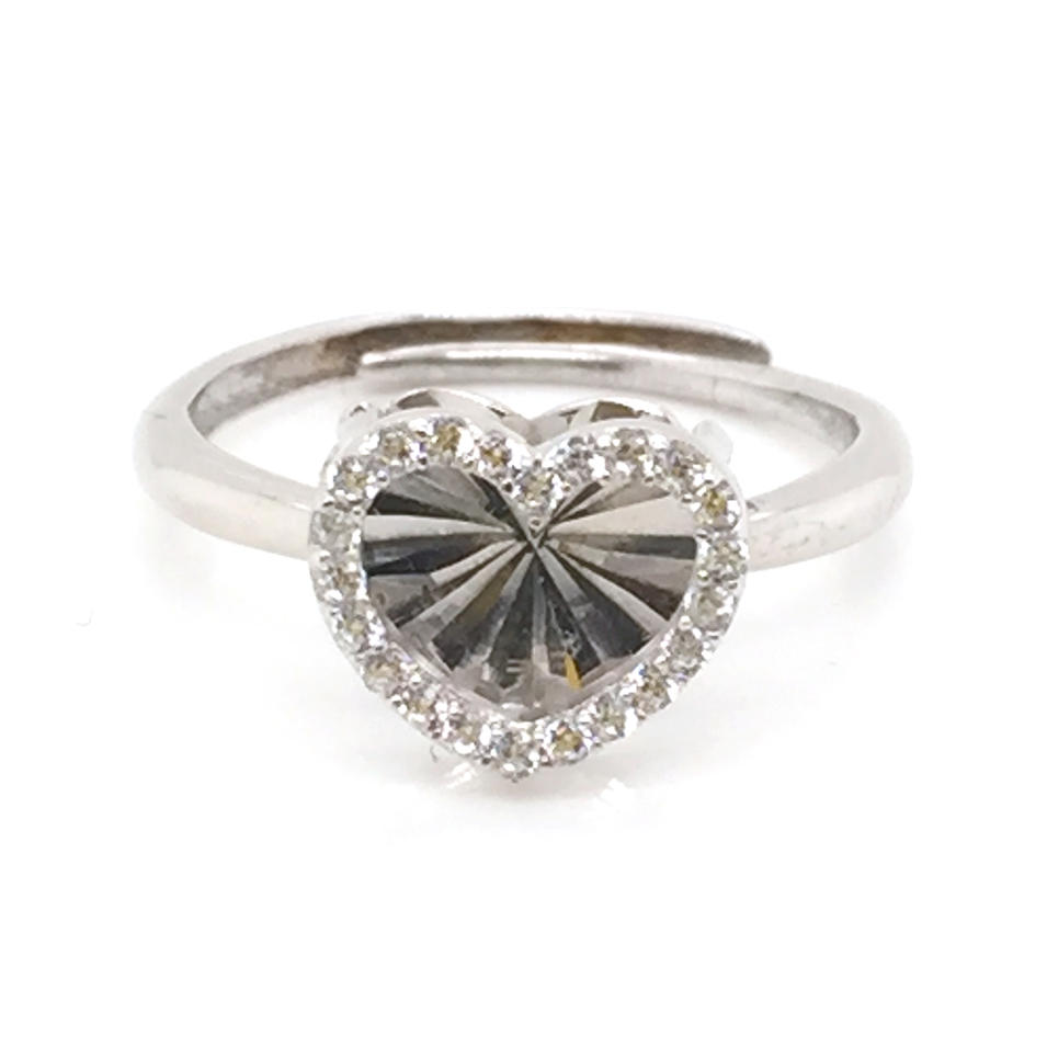 High Quality Cubic Zircon Heart Design Fashion 925 Sterling Love Ring