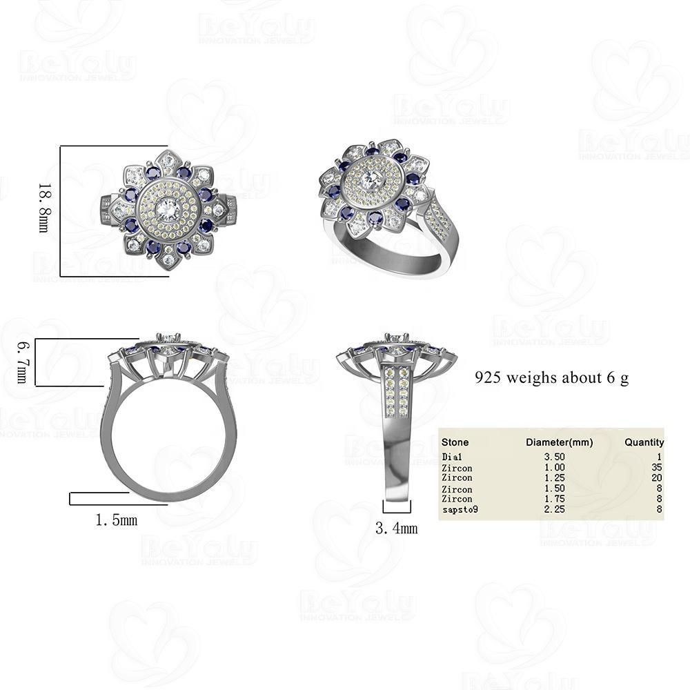 2020 New Design Flower Shaped Silver Gemstone Ring For Men And Women