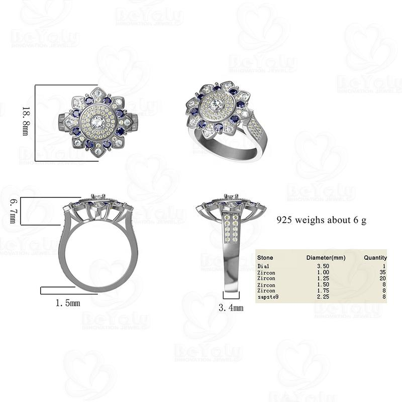 2020 New Design Flower Shaped Silver Gemstone Ring For Men And Women