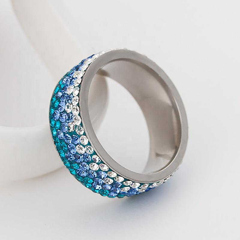 Popular Stainless Steel Diamond Ring, Ornaments Progressive Blue Color Ring