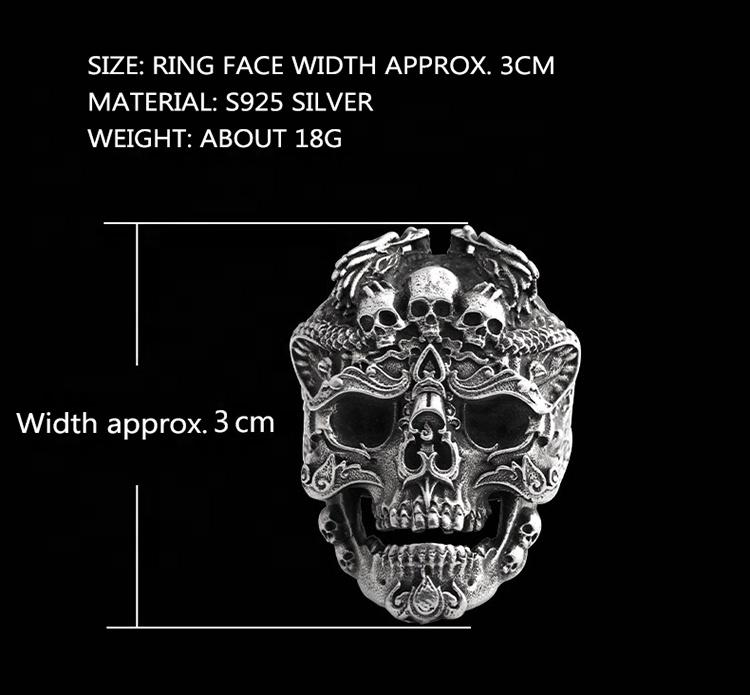 Vintage Jewelry Mens Rings 925 Silver Skull, Gothic Skull Ring