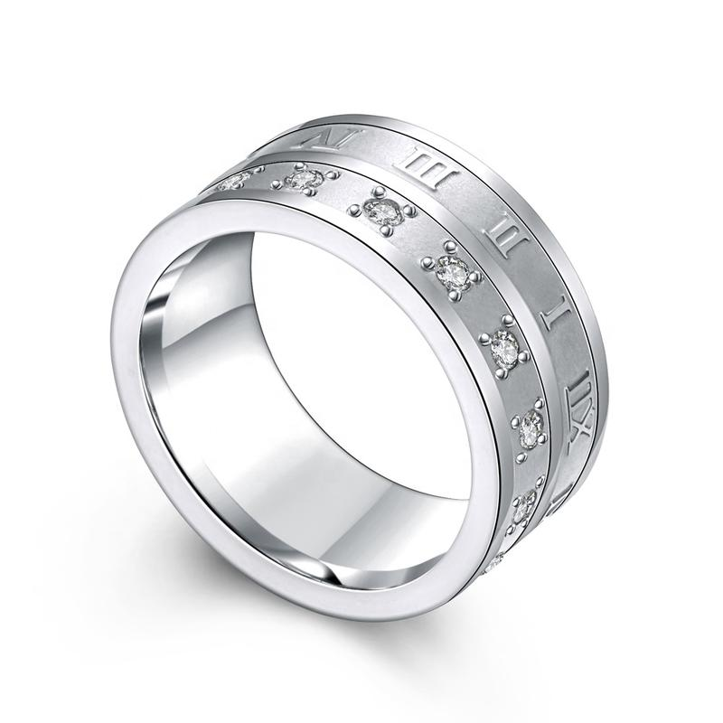 High Quality Roman Numerals Design Cz Stainless Steel Rings