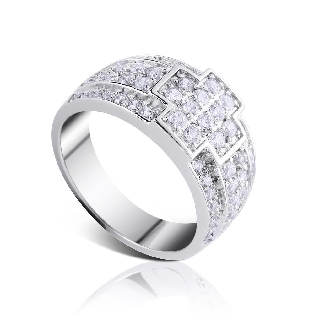 Fine quality cubic zirconia stock bulk cross silver rings