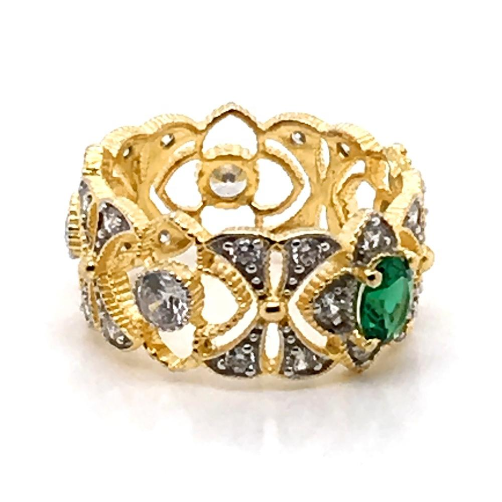 Easy Style Engagement Silver Dubai 24K Gold Jewelry Color Stone