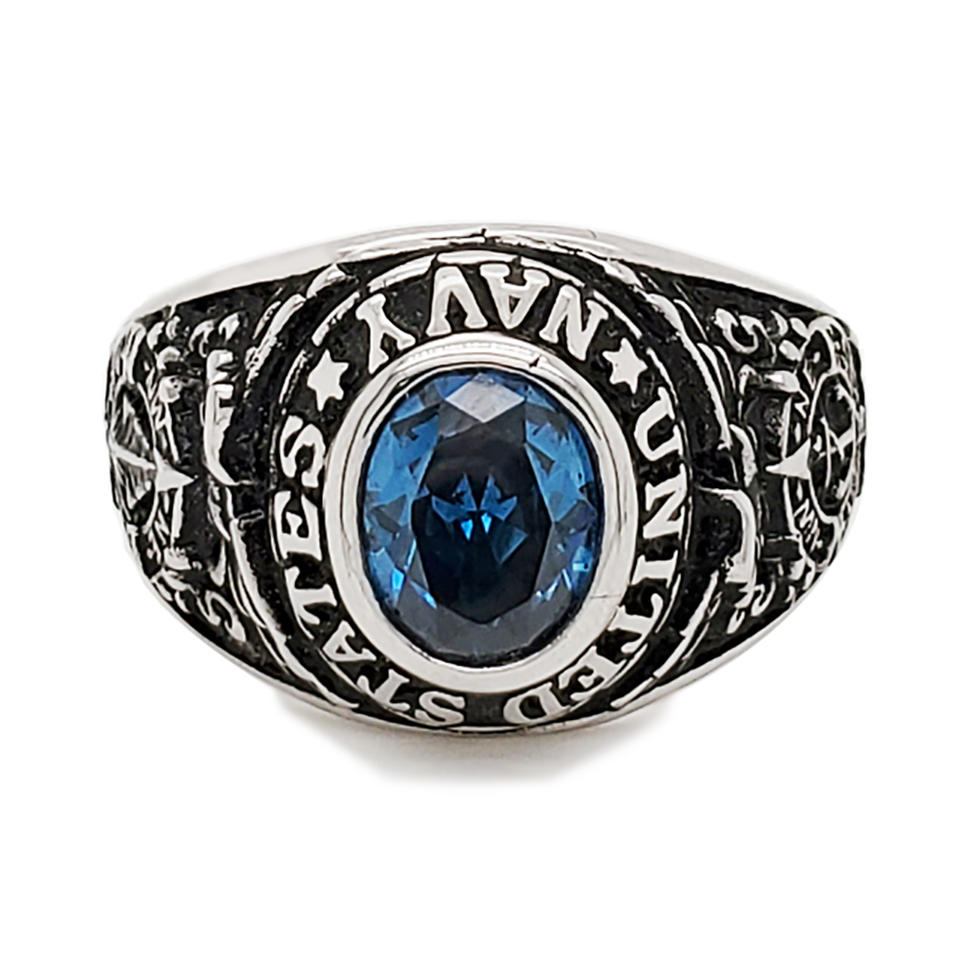 Hot selling university graduation custom mens big blue stone ring