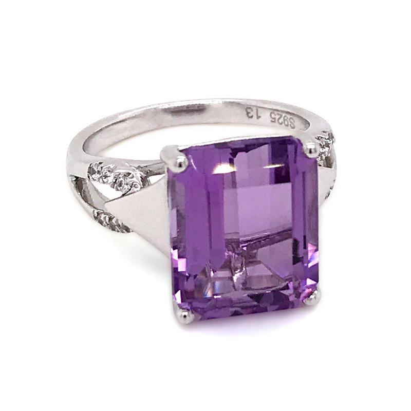 Big Stone Good Adornment Silver Men's Purple Gemstone Rings