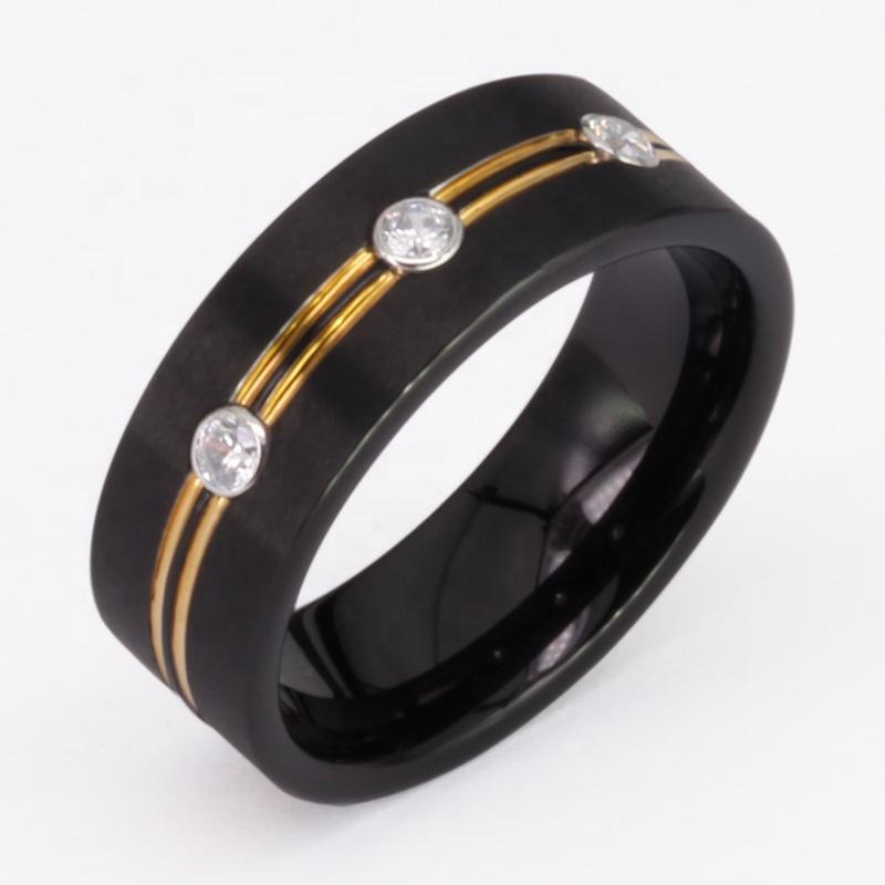Classic Simple Three Diamond Inlaid Tungsten Jewelry Fashion Finger Ring
