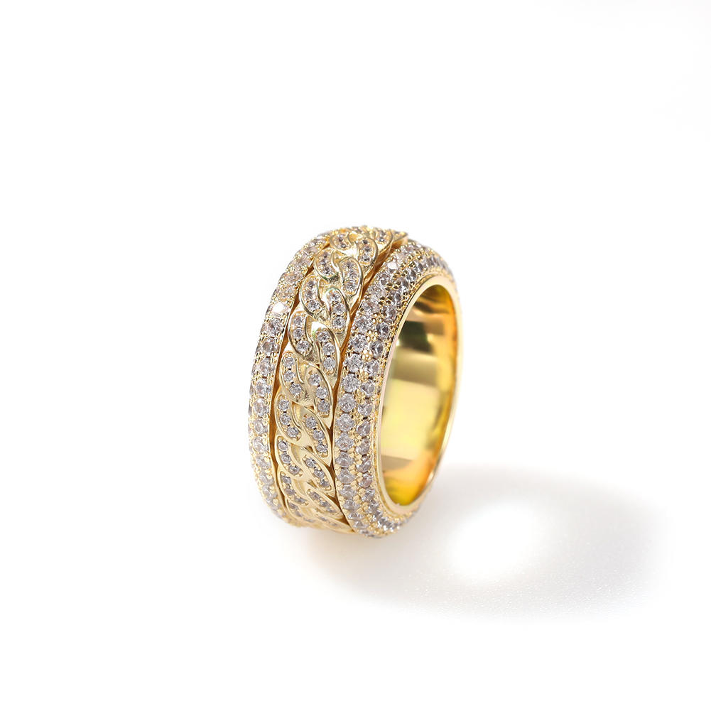 Hip-Hop Micro - Zircon Rotatable Cuban Ring Gold Electroplating