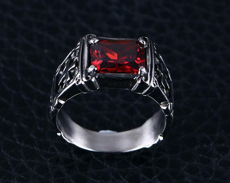 Fashion Hiphop Stainless Steel Ring With Red Gemstone For Men