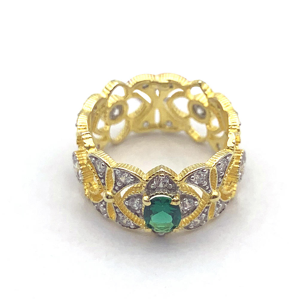 Beauty Couple Anniversary Green Baguette Diamond Ring Gold Plated