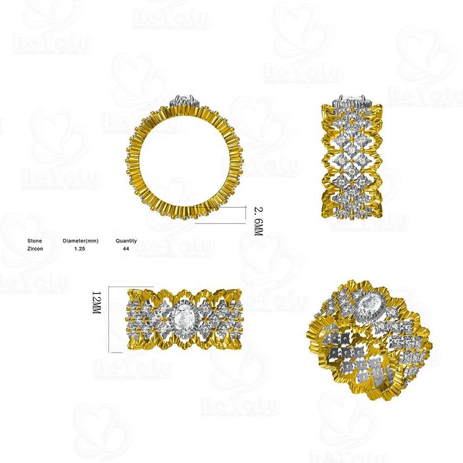 Beyaly CAD Custom Jewelry Rhodium-Plated Inner Golden Wavy Edge Ring
