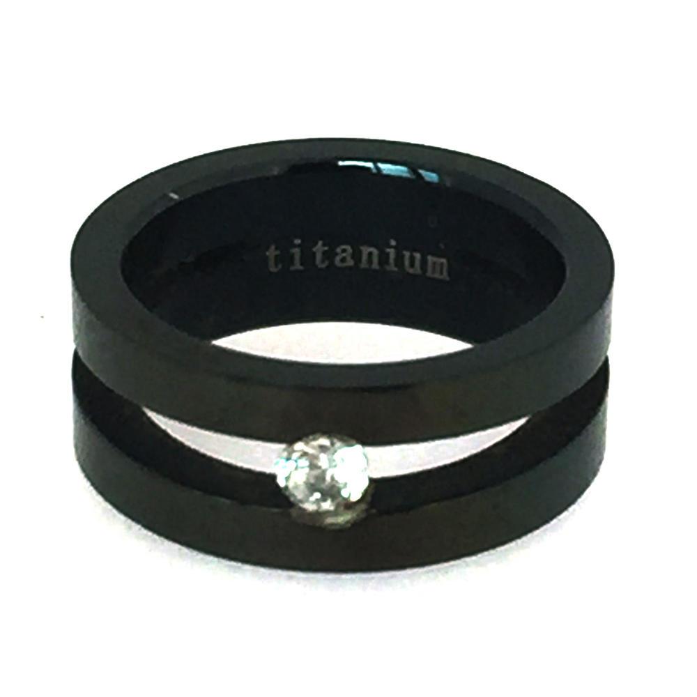 Delicate black ceramics couple jewelry birthstone rings