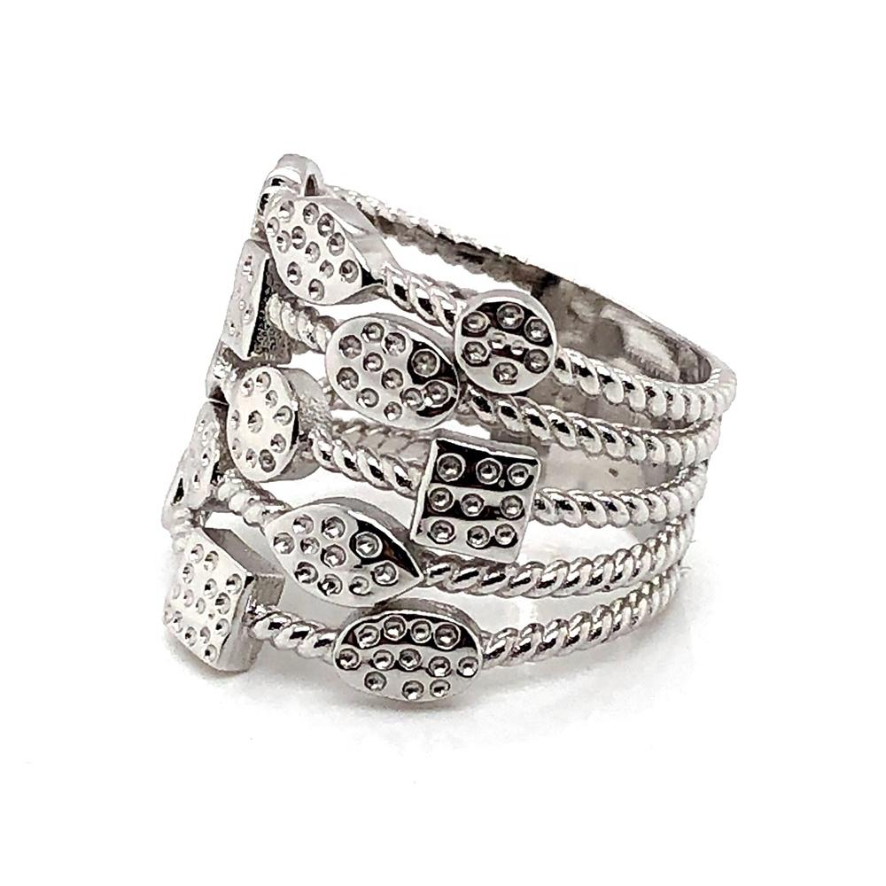 Fashion Women Engagement Jewelry Silver Ring Geometric Multi-layer Design
