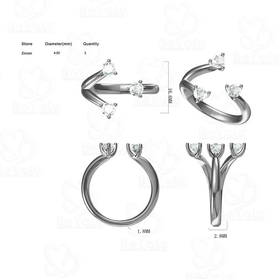 Beyaly OEM & ODM Custom Jewelry Adjustable Claw Shape Three Stone Ring