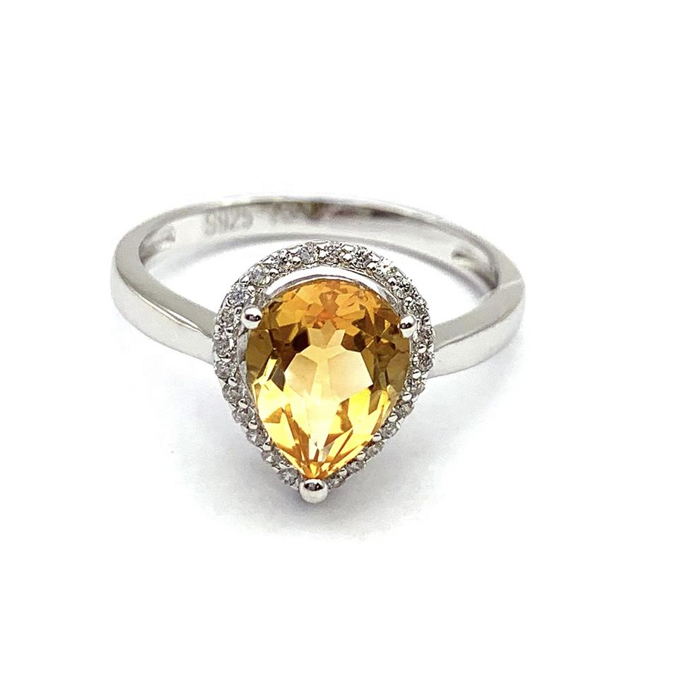 Charming beauty handmade silver jewelry yellow sapphire ring