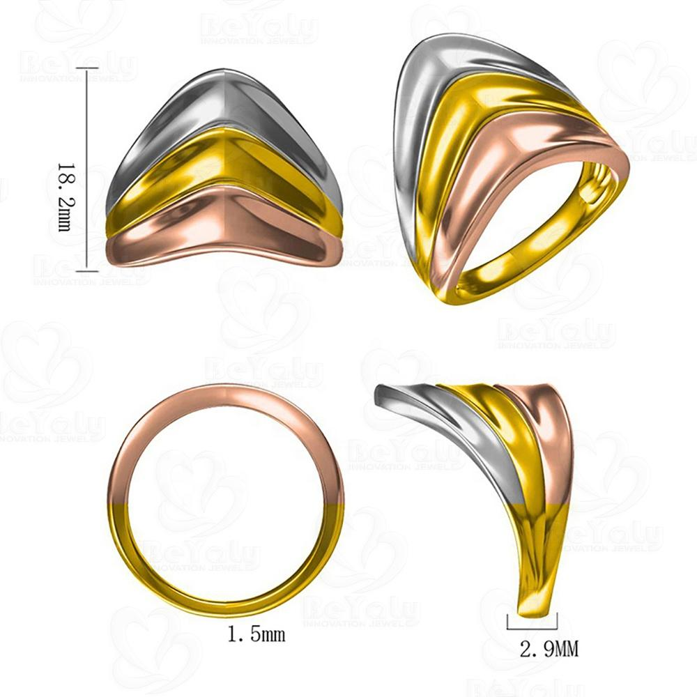 Beyaly CAD Custom Jewelry Three-Color Electroplated Polished Blank Ring