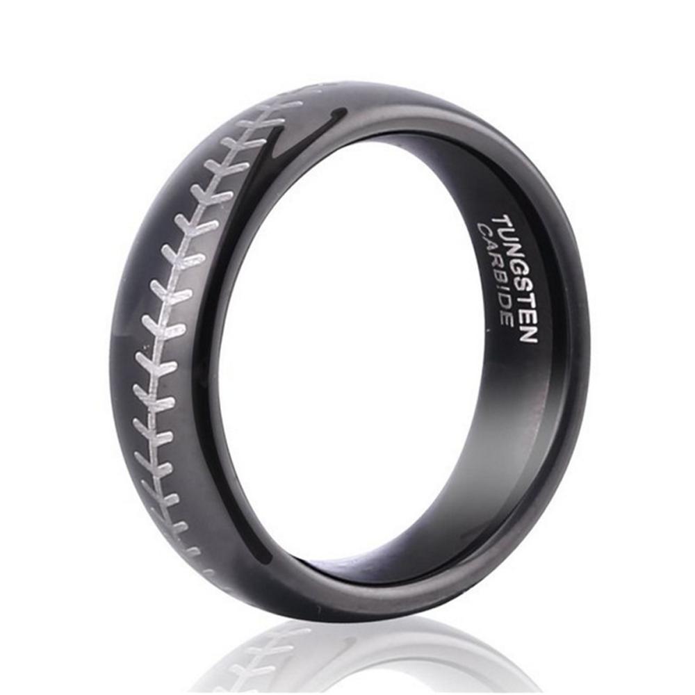 Classic Baseball Design 857 Tungsten Carbide Ring For Men