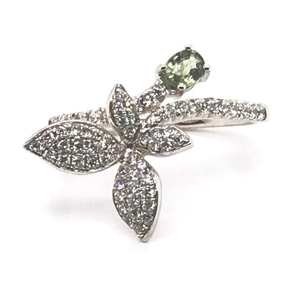 Daily wear silver gemstone white gold rings designs for ladies
