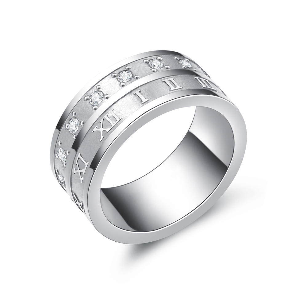 Unisex Stainless Steel Cz Number Fashion Ring Hot