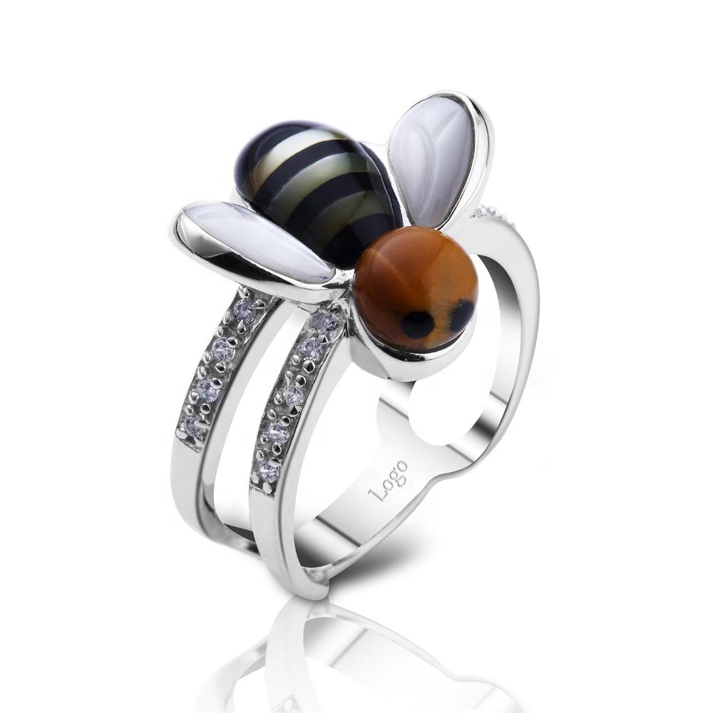 Delicate Women's Beautiful Wasp Shape Shell And Cz Silver Rings
