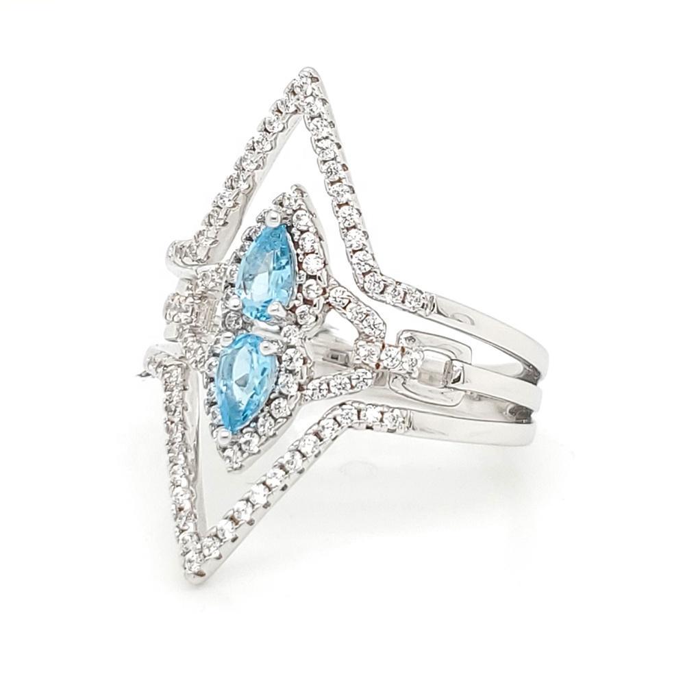 High End Blue Stone Brazilian Gemstone Jewelry Geometric Rings