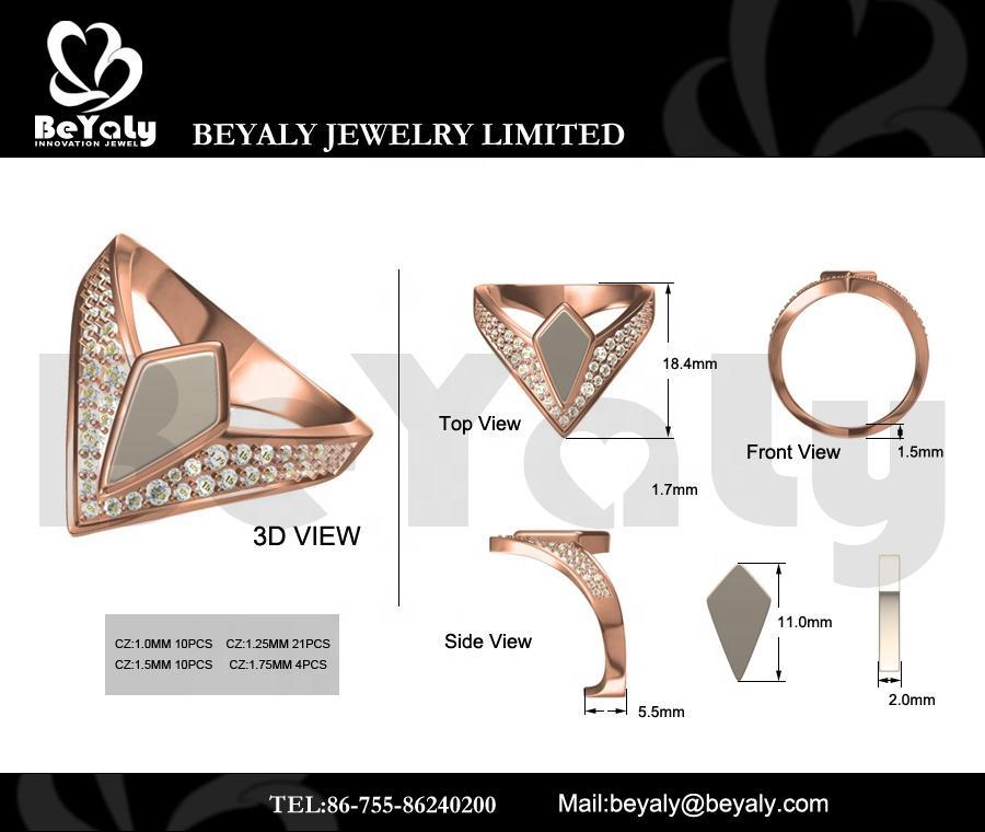 Beyaly CAD Custom Jewelry CZ Pave Setting Ring Geometric Design