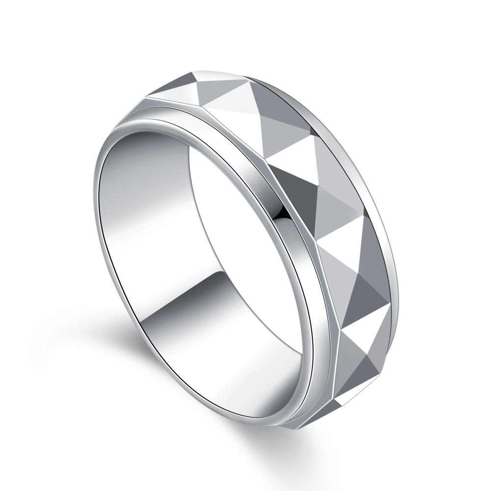 Wholesale cheap faceted design rotatable stainless steel jewelry
