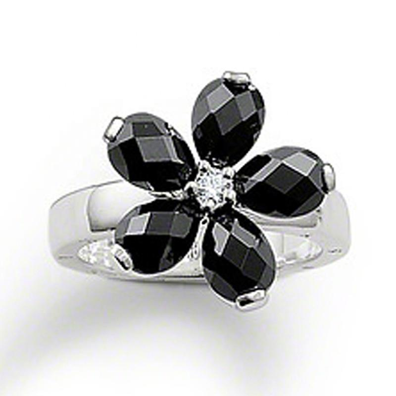 Flower Design Silver Rings Jewelry Black Obsidian Diamond Finger Ring