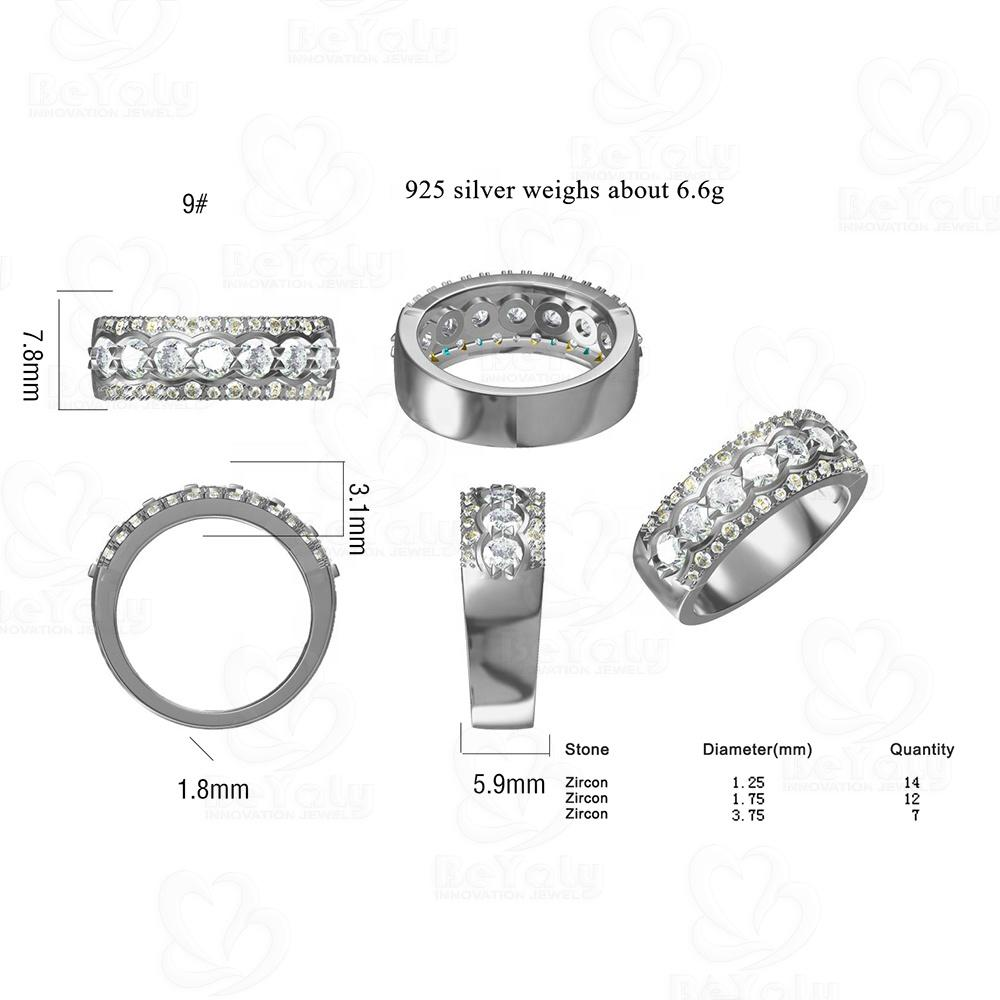 Beyaly CAD Custom Jewelry Three layer Gemstone Ring For Engagement