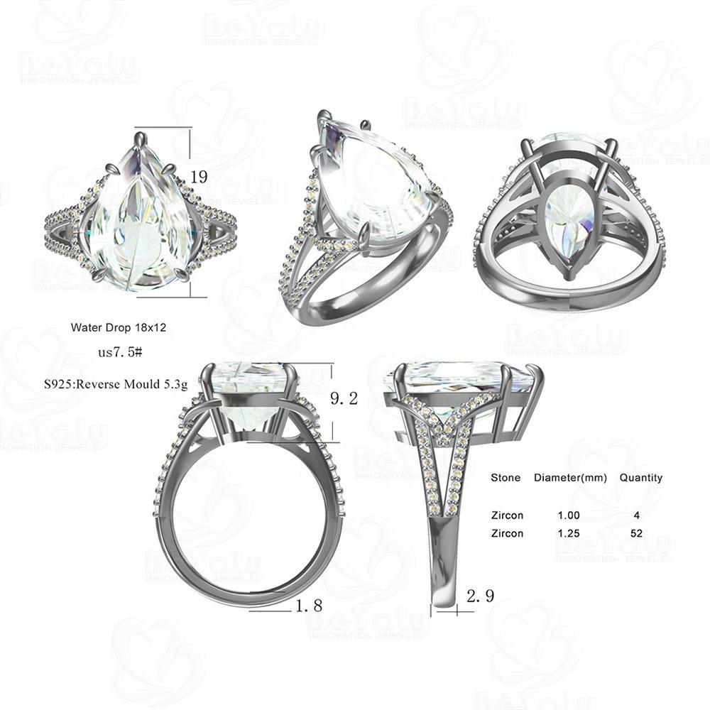 Beyaly CAD Custom Jewelry Water Drop Gemstone Woman Silver Ring