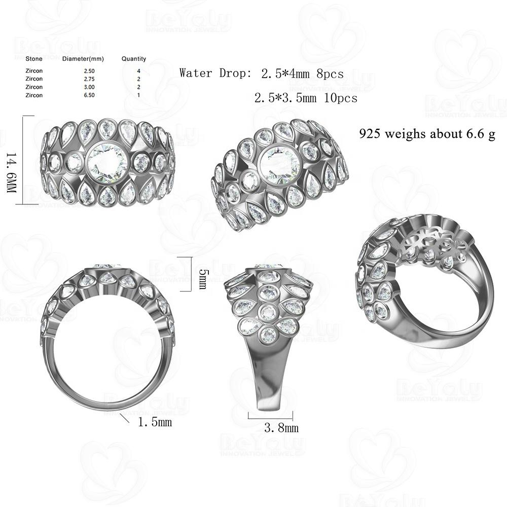Custom Silver Bezel Setting Multi Waterdrop Stone Design Ring Wholesale