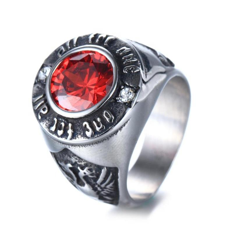 Stainless Steel Accessories Jewelry Men, Retro Sapphire Stainless Steel Ring
