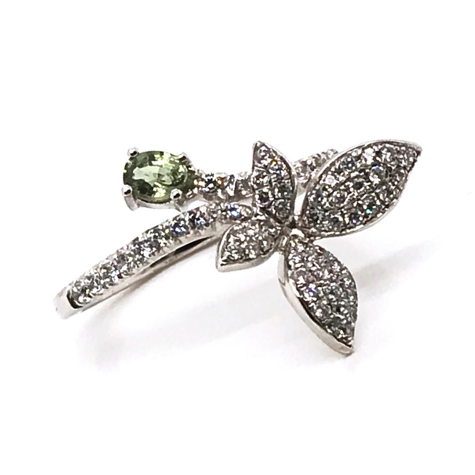 Brilliant cz orchid beauty girls stock silver flower rings