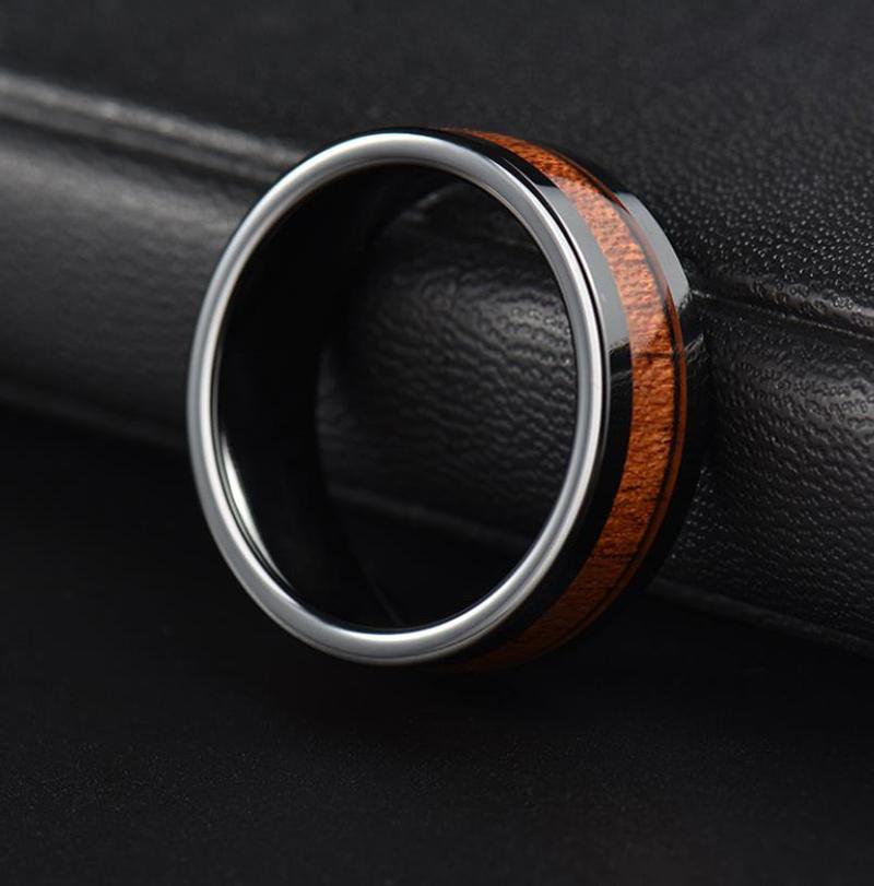 Black Enamel Stainless Steel Men's Fashion Wood Ring