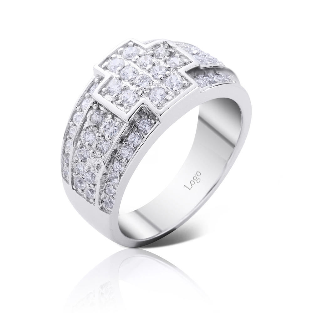 Fine quality cubic zirconia stock bulk cross silver rings