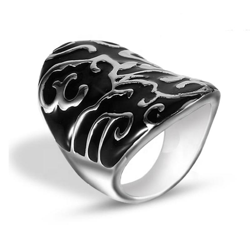 Popular Trendy Stainless Steel Black Painting Cheap Man Ring