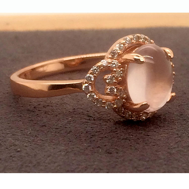 Brilliant beauty girls cz inlaid set rose gold 975 rings
