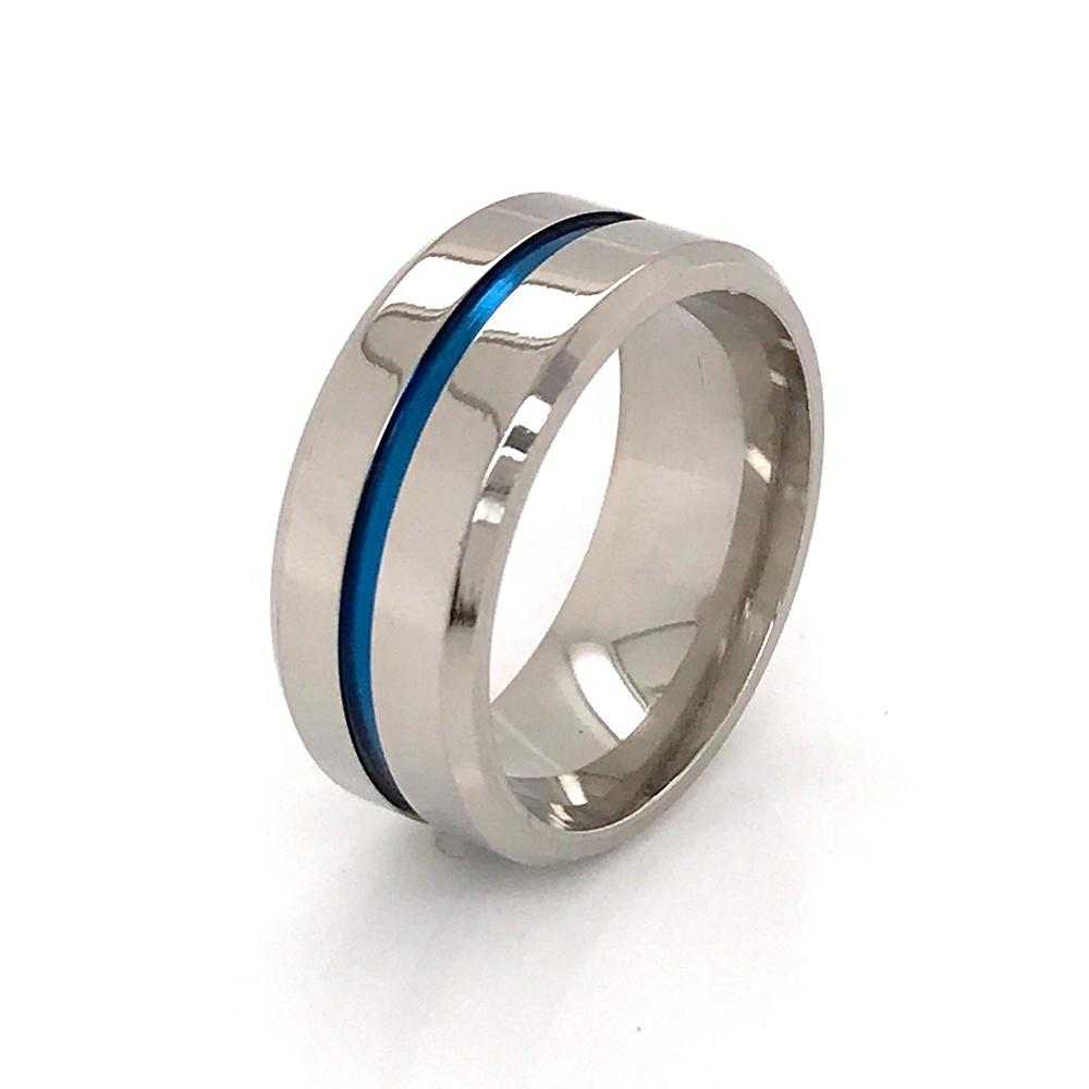 Hot Style Stainless Steel Jewelry Titanium Ring Blue Band Wholesale 8mm Men's Ring