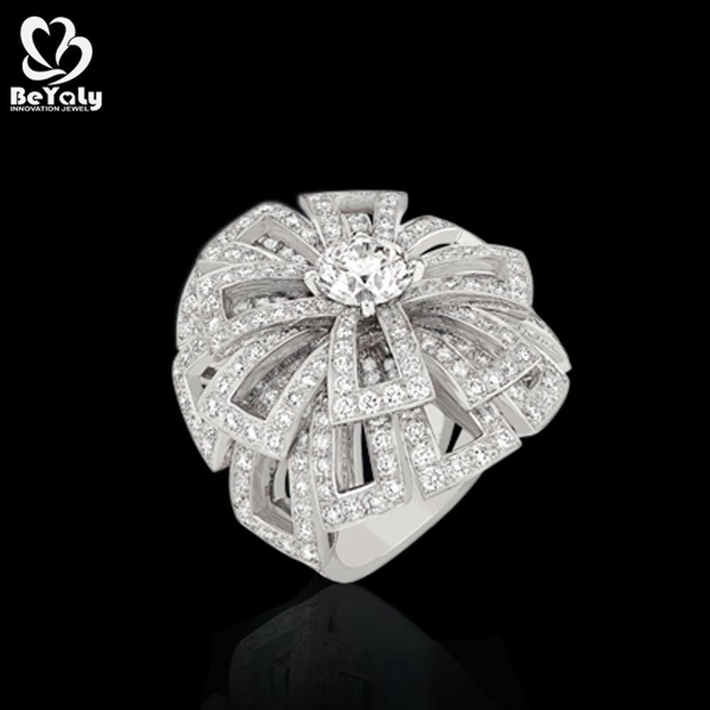Flower Design Men Women Sterling Silver 925 Engagement Rings