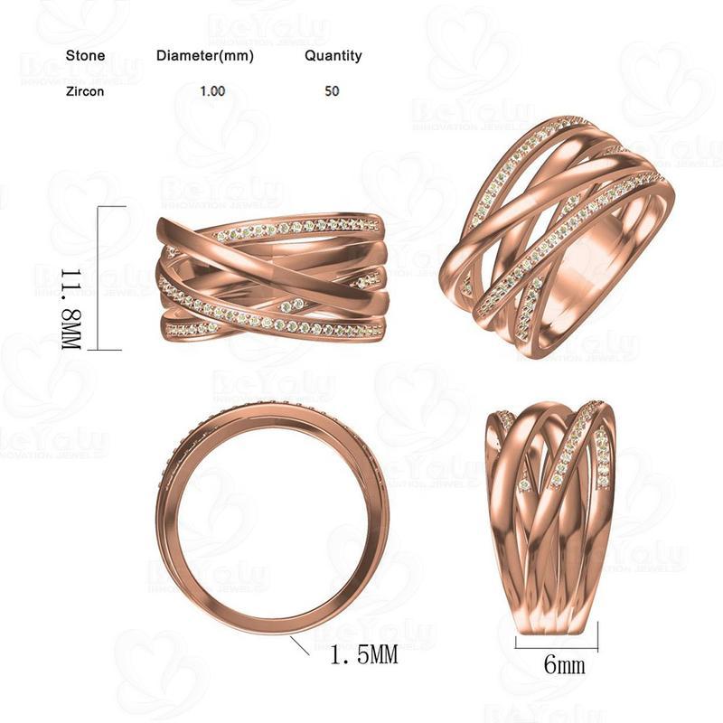 Beyaly CAD Custom Jewelry Twister Wrap Design Ring Half Stone