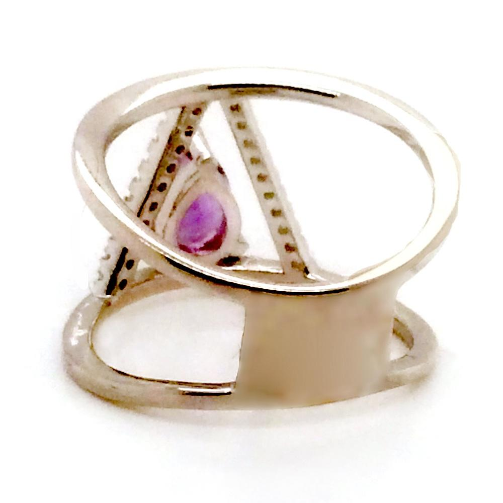 Awesome Eye Shaped Purple Color Stone Silver Names Jewellery Brands