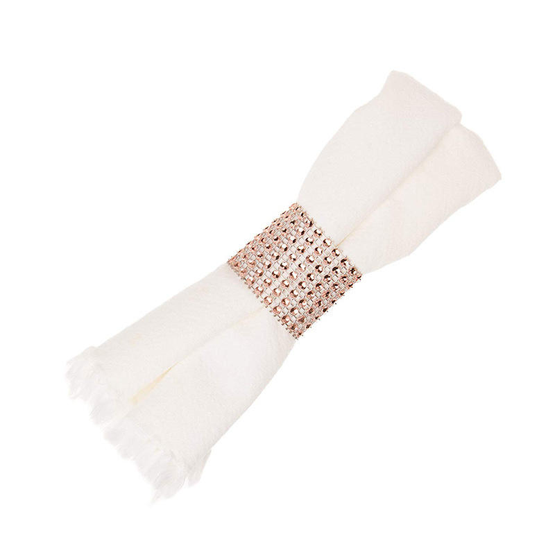 Pink And Clear Gemstone Silver Napkin Rings For Weddings