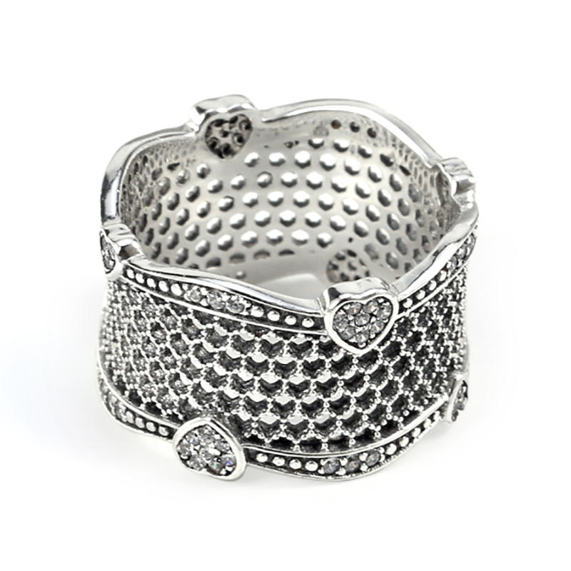 Fashion Silver Cz New Design Ladies Finger Ring, Heart Design Wave Ring