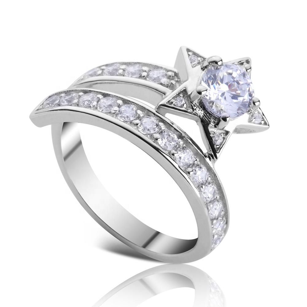 Beautiful women's cubic zircon silver eastern star rings
